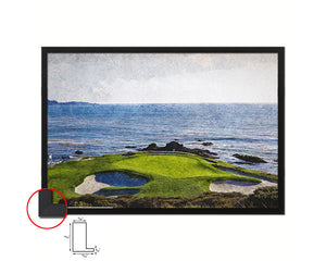 Pebble Beach Golf Course, Monterey, California Art Painting Print Art Wood Framed Wall Decor Gifts