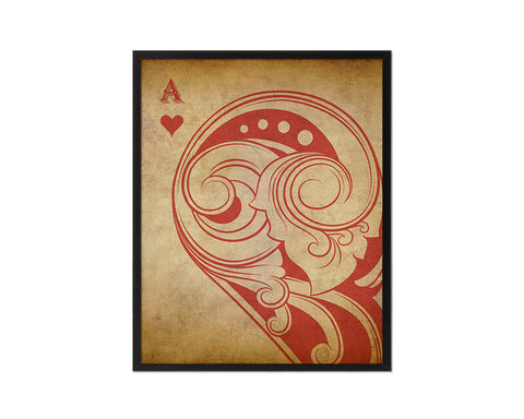 Ace of Heart Cards Fine Art Paper Prints Wood Framed Wall Art Decor Gifts
