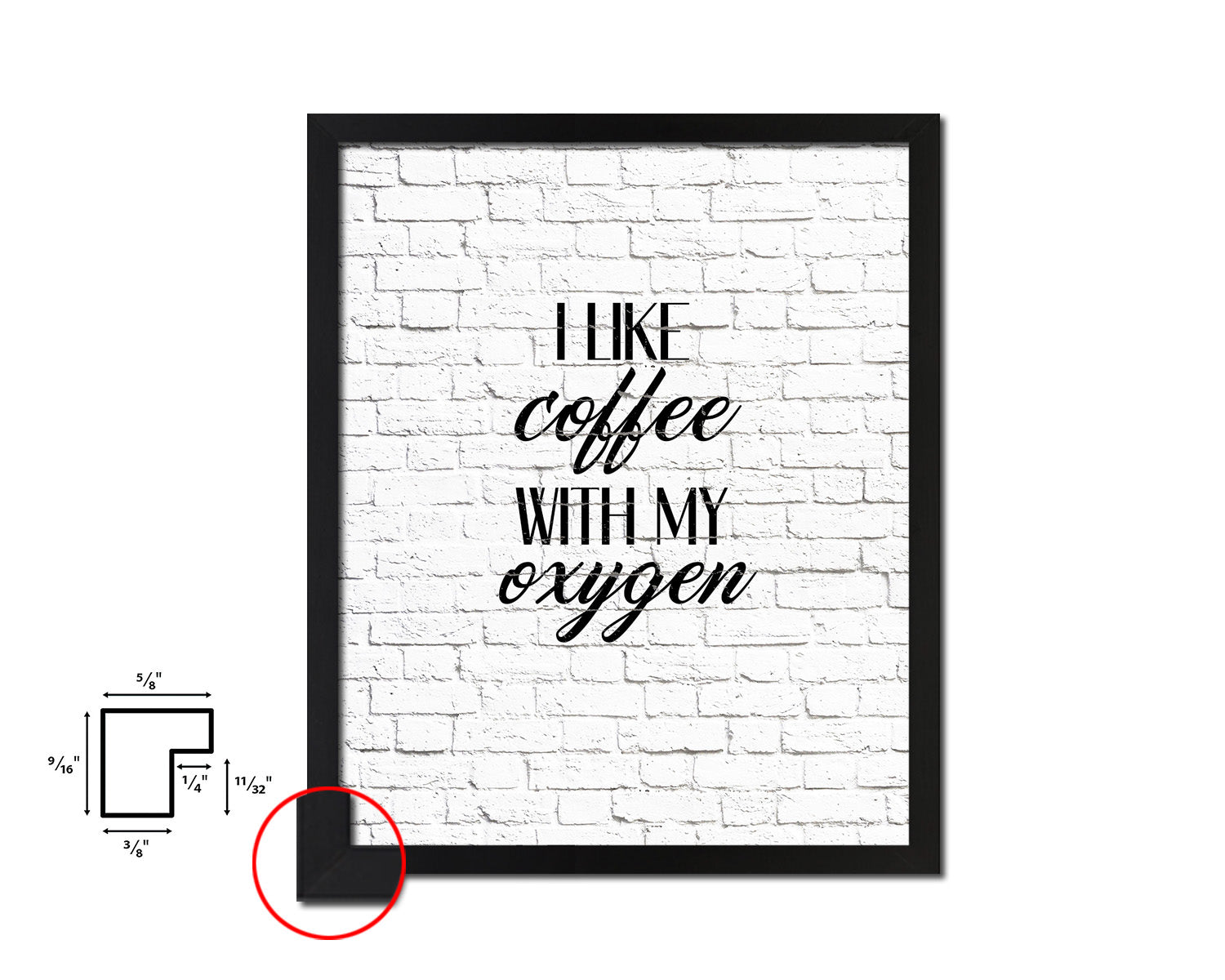 I like coffee with my oxygen Quotes Framed Print Home Decor Wall Art Gifts