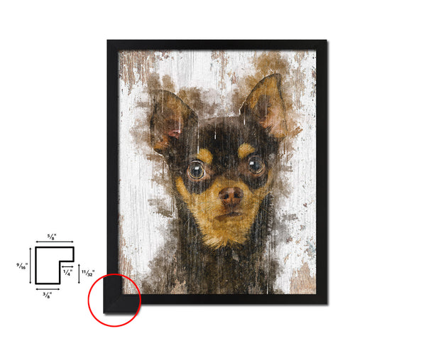 Chihuahua 9 months Dog Puppy Portrait Framed Print Pet Home Decor Custom Watercolor Wall Art Gifts