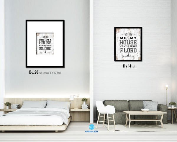 As for me & my house, we will serve the Lord Quote Wood Framed Print Home Decor Wall Art Gifts