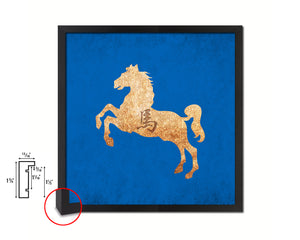 Horse Chinese Zodiac Character Wood Framed Print Wall Art Decor Gifts, Blue
