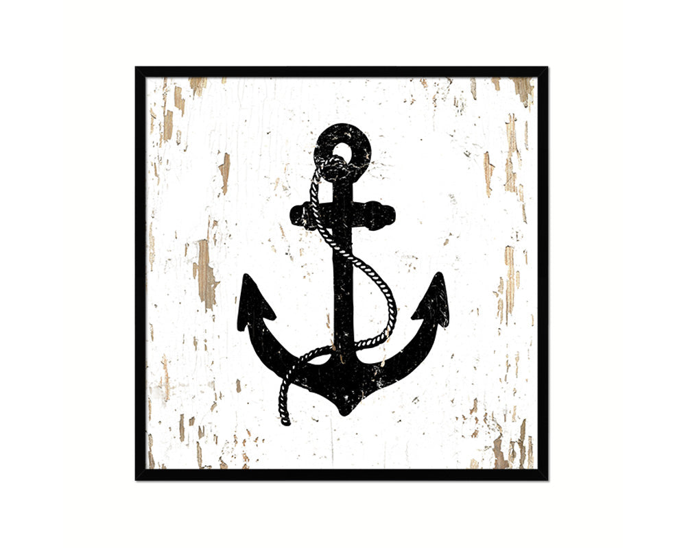 Anchor Nautical Wood Framed Gifts Ocean Beach Fishing Home Decor Wall Art Prints