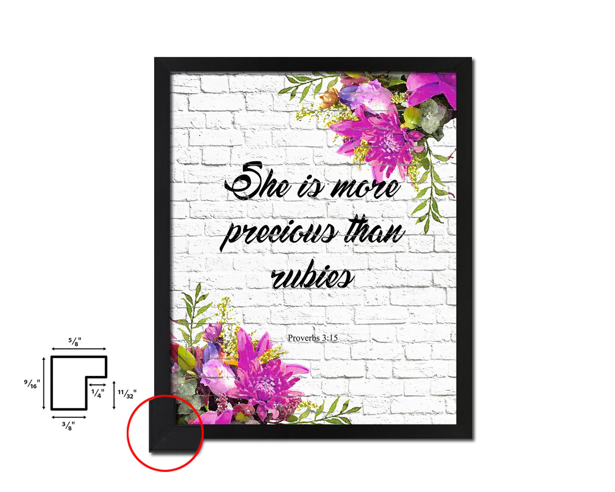 She is more precious than rubies, Proverbs 3:5 Quote Framed Print Home Decor Wall Art Gifts