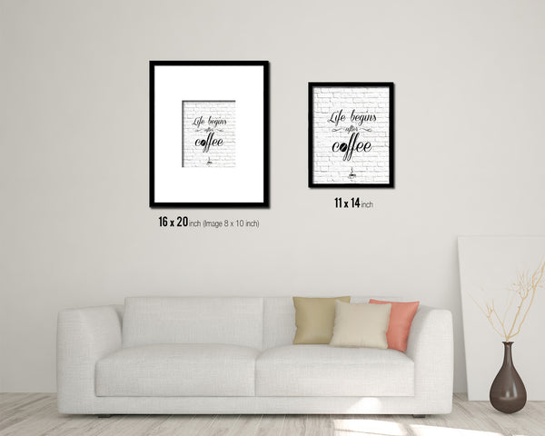 Life begins after coffee Quote Framed Artwork Print Wall Decor Art Gifts
