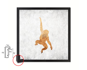 Monkey Chinese Zodiac Character Wood Framed Print Wall Art Decor Gifts, White