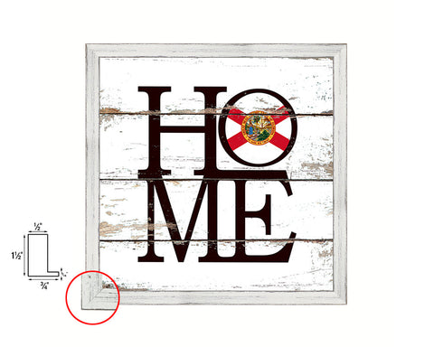 Florida State Flag Shabby Chic Home Decor White Wash Wood Frame Wall Art Prints Gift