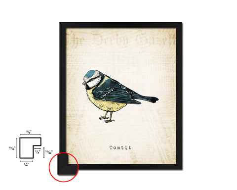 Tomtit Vintage Bird Fine Art Paper Prints Home Decor Wall Art Gifts