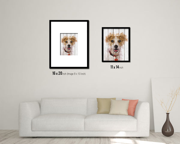 Jack Russell Terrier Dog Puppy Portrait Framed Print Pet Home Decor Custom Watercolor Wall Art Gifts