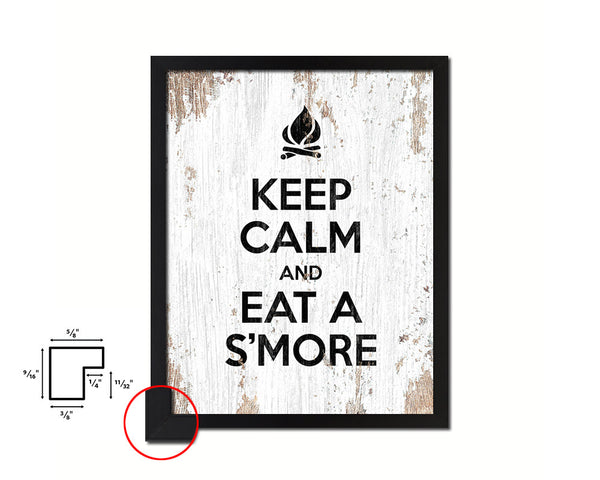 Keep calm and eat a smore Quote Framed Print Home Decor Wall Art Gifts