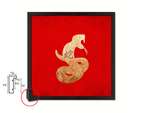 Snake Chinese Zodiac Character Wood Framed Print Wall Art Decor Gifts, Red