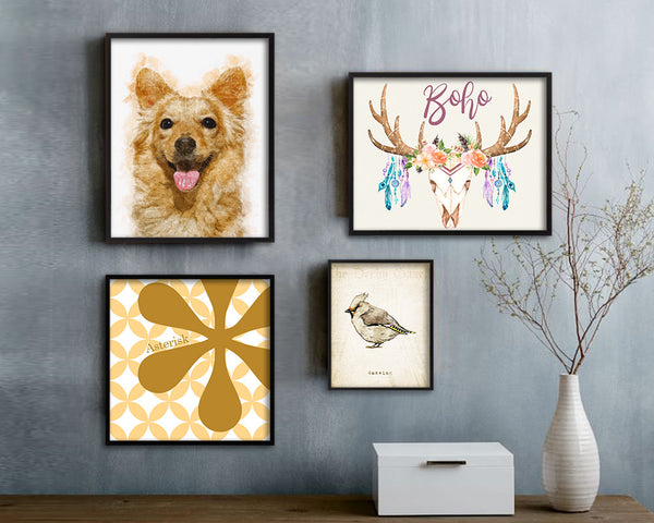 Terrier Dog Puppy Portrait Framed Print Pet Home Decor Custom Watercolor Wall Art Gifts