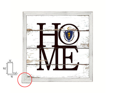 Massachusetts State Flag Shabby Chic Home Decor White Wash Wood Frame Wall Art Prints Gift