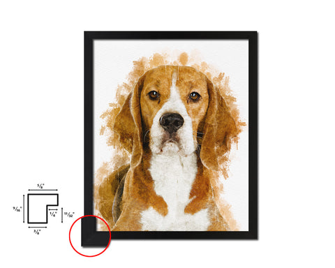 Beagle Dog Puppy Portrait Framed Print Pet Home Decor Custom Watercolor Wall Art Gifts