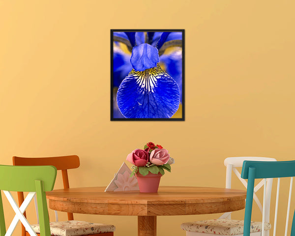 Iris Blue Flower Wood Framed Paper Print Wall Decor Art Gifts