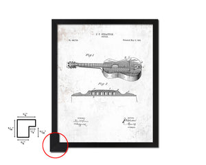 Acoustic Guitar Music Vintage Patent Artwork Black Frame Print Gifts