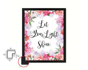 Let your light shine Quote Framed Print Home Decor Wall Art Gifts