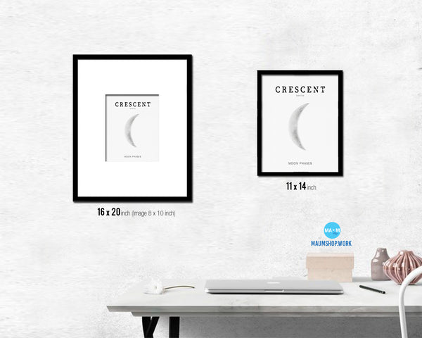 Waning Crescent Lunar Phases Moon Watercolor Nursery Framed Prints Home Decor Wall Art Gifts