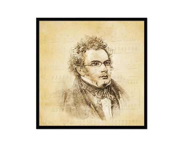 Franz Schubert Vintage Classical Music Black Framed Print Wall Decor Art Gifts