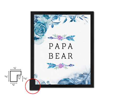 Papa Bear Father's Day Framed Print Home Decor Wall Art Gifts