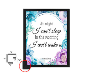 At night I can't sleep in the morning Vintage Quote Black Framed Artwork Print Wall Decor Art Gifts