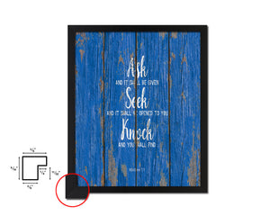 Ask Seek and Knock, Matthew 7:7 Quote Framed Print Home Decor Wall Art Gifts