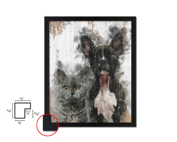 Cats and Dogs Dog Puppy Portrait Framed Print Pet Home Decor Custom Watercolor Wall Art Gifts