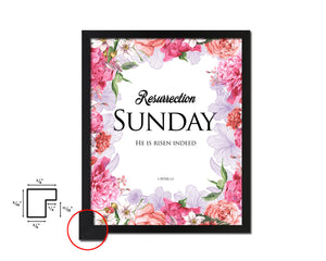 Resurrection Sunday He is risen indeed, 1 Peter 1:3 Quote Framed Print Home Decor Wall Art Gifts