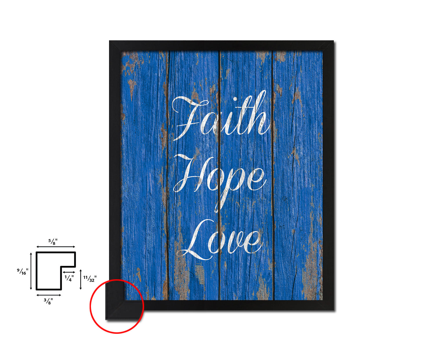 Faith Hope Love Quote Framed Print Home Decor Wall Art Gifts