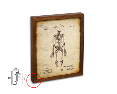 Anatomical Skeleton Doctor Vintage Patent Artwork Walnut Frame Print Wall Art Decor Gifts