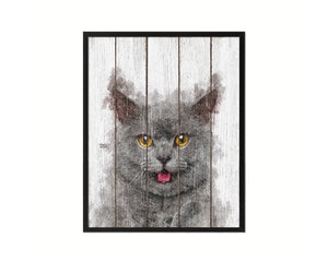 Chartreux Cat Kitten Portrait Framed Print Pet Home Decor Custom Watercolor Wall Art Gifts