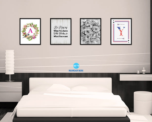 Be happy with what you have Vintage Quote Black Framed Artwork Print Wall Decor Art Gifts
