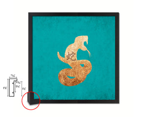 Snake Chinese Zodiac Character Wood Framed Print Wall Art Decor Gifts, Aqua