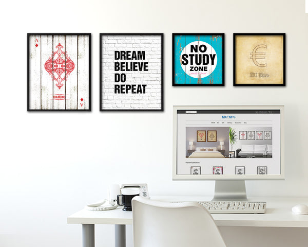 Dream believe do repeat Quote Framed Print Home Decor Wall Art Gifts