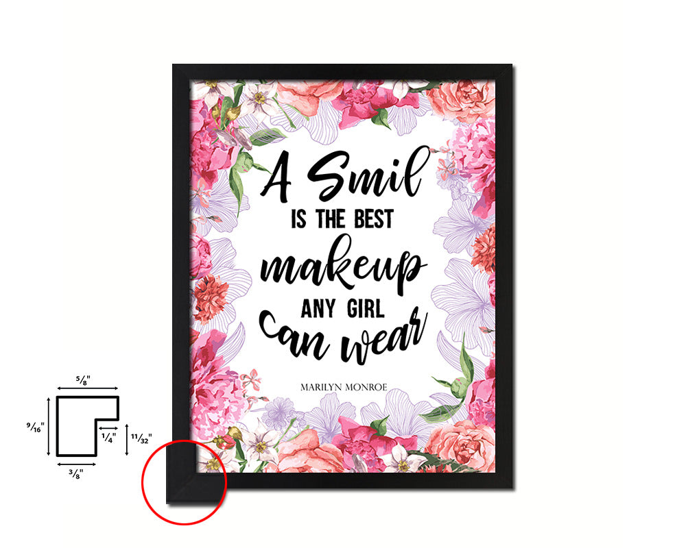 A smile is the best makeup Marilyn Monroe Quote Framed Print Home Decor Wall Art Gifts