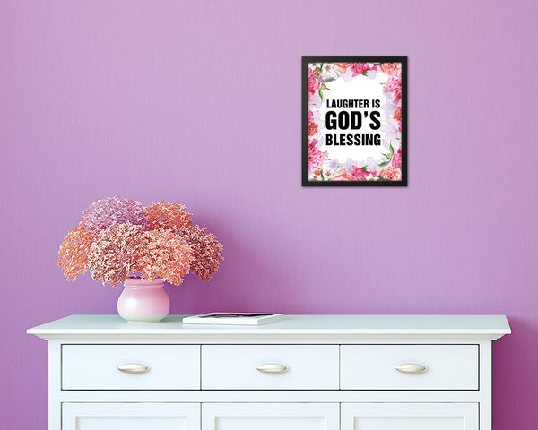 Laughter is God's blessing Quote Framed Print Home Decor Wall Art Gifts