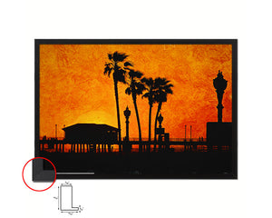 Huntington Beach, Summer Artwork Painting Print Art Frame Home Wall Decor Gifts