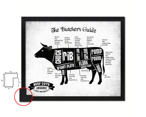 Beef  Meat Cow Cuts Butchers Chart Wood Framed Paper Print Home Decor Wall Art Gifts