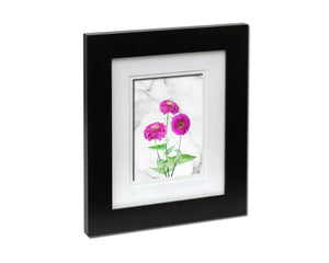 Pink Zinnia Flower Art Wood Frame With Mat Wall Decor Prints Gifts