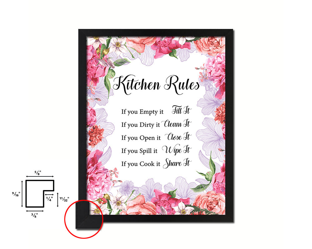 Kitchen Rules Quote Framed Print Home Decor Wall Art Gifts