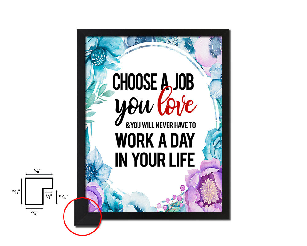 Choose a Job you love Vintage Quote Black Framed Artwork Print Wall Decor Art Gifts