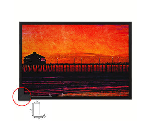 Huntington Beach Sunset Artwork Painting Print Art Frame Home Wall Decor Gifts