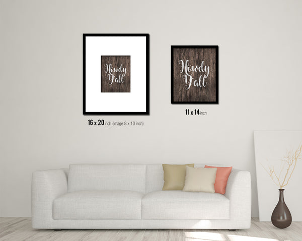 Howdy y'all Quote Framed Artwork Print Home Decor Wall Art Gifts