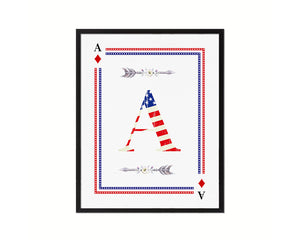 Letter A Custom Monogram Decks Diamond American Flag Framed Print Wall Art Decor Gifts