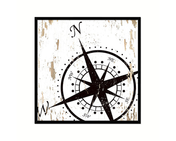 Compass Nautical Wood Framed Gifts Ocean Beach Fishing Home Decor Wall Art Prints