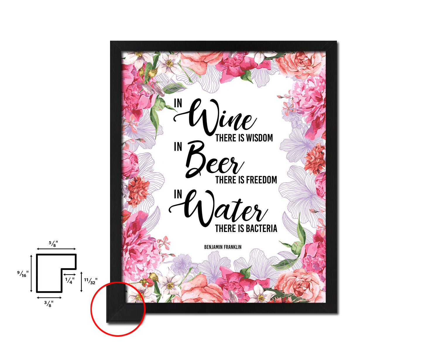 In wine there is wisdom, In beer there is freedom Framed Artwork Print Wall Decor Art Gifts