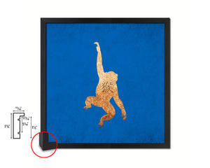 Monkey Chinese Zodiac Character Wood Framed Print Wall Art Decor Gifts, Blue