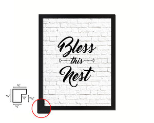 Bless this nest Quote Framed Print Home Decor Wall Art Gifts