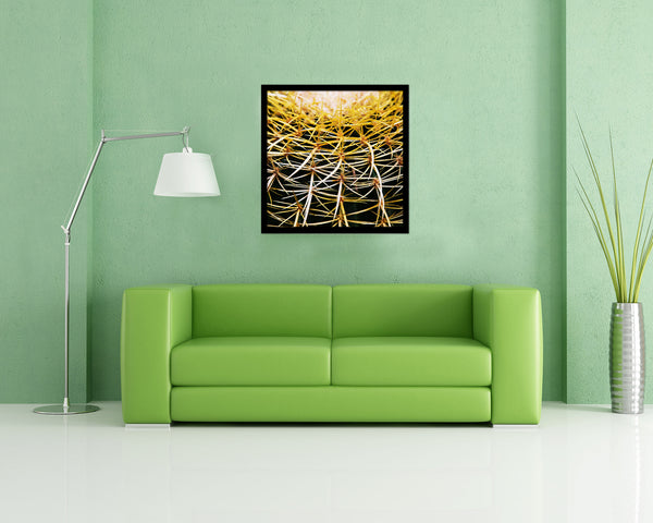 Golden Barrel Cactus Evergreen Succulent Leaves Spiral Plant Wood Framed Print Decor Wall Art Gifts