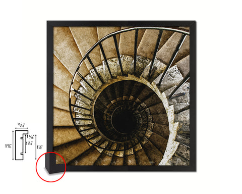 Cement Iron Vintage Spiral Staircase Black Framed Print Interior Wall Decor Art Gifts